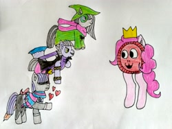 Size: 4160x3120 | Tagged: safe, artist:bringina, character:limestone pie, character:marble pie, character:maud pie, character:pinkie pie, species:earth pony, species:pony, g4, crossover, deltarune, traditional art