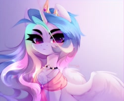 Size: 3192x2615 | Tagged: safe, artist:tomness, character:princess celestia, species:alicorn, species:pony, g4, bust, shawl, simple background, solo, tiara