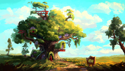 Size: 1280x720 | Tagged: safe, artist:plainoasis, g4, my little pony: friendship is magic, cloud, door, golden oaks library, no pony, painting, scenery, sky, tree, window