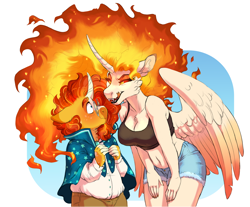 Size: 1280x1060 | Tagged: safe, artist:lopoddity, character:daybreaker, character:princess celestia, character:sunburst, species:alicorn, species:anthro, species:pony, species:unicorn, crack shipping, duo, licking lips, ship:dayburst, shipping, size difference, straight