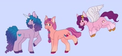 Size: 2990x1372 | Tagged: safe, artist:halotiless, character:izzy moonbow, character:pipp petals, character:sunny starscout, species:earth pony, species:pegasus, species:pony, species:unicorn, g5, braid, coat markings, cutie mark, flying, gradient mane, horn pattern, pipp wings, raised hoof, simple background, socks (coat marking), spread wings, unshorn fetlocks, wings