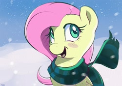 Size: 2500x1750 | Tagged: safe, artist:nookprint, character:fluttershy, species:pegasus, species:pony, blush sticker, blushing, bust, clothing, cute, female, folded wings, looking at you, mare, open mouth, outdoors, scarf, smiling, snow, snowfall, solo, three quarter view, wings, winter, winter outfit