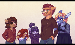 Size: 1600x965 | Tagged: safe, artist:lopoddity, oc, oc:belle velour, oc:critter stew, oc:huckleberry, oc:pickled plum, oc:red snapper, parent:coloratura, parent:hoity toity, parent:sapphire shores, parents:colorashores, species:anthro, species:donkey, species:earth pony, species:mule, species:pony, pandoraverse, g4, brother and sister, brothers, female, foal, genderfluid, hybrid, male, multiple parents, next generation, nonbinary, offspring, parent:branch hooffield, parent:hacksaw mccolt, siblings, young