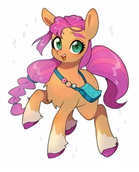 Size: 2480x3074 | Tagged: safe, artist:potetecyu_to, character:sunny starscout, species:earth pony, species:pony, g5, bag, braid, chest fluff, coat markings, socks (coat marking), solo, sparkles, sunnybetes, unshorn fetlocks