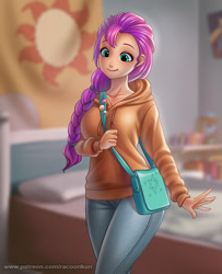 Size: 800x984 | Tagged: safe, artist:racoonsan, character:sunny starscout, species:human, g5, bag, braid, hoodie, humanized, jeans, solo