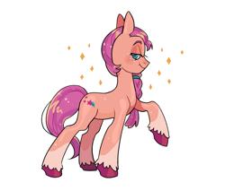 Size: 1952x1664 | Tagged: safe, artist:induk_s, character:sunny starscout, species:earth pony, species:pony, g5, braid, coat markings, cutie mark, raised hoof, socks (coat marking), solo, sparkles, unshorn fetlocks