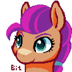 Size: 256x256 | Tagged: safe, artist:bitassembly, character:sunny starscout, species:earth pony, species:pony, g5, braid, bust, pixel art, simple background, solo, transparent background