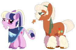 Size: 718x475 | Tagged: safe, artist:selenaede, artist:teafrown, character:applejack, character:twilight sparkle, species:earth pony, species:pony, g4, base used, duo, earth pony twilight, female, race swap, redesign