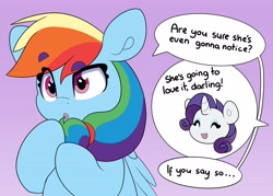 Size: 3969x2835   Tagged: safe, artist:partylikeanartist, character:rainbow dash, character:rarity, species:pegasus, species:pony, species:unicorn, g4, dialogue, hairband, implied lesbian, ponytail, simple background, solo focus, speech bubble, text