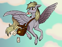 Size: 3723x2791   Tagged: safe, artist:serafinanicole, character:derpy hooves, species:pegasus, species:pony, g4, art challenge, mailmare, solo
