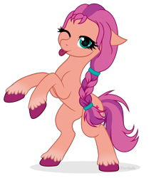 Size: 2730x3212 | Tagged: safe, artist:l-starshade, character:sunny starscout, species:earth pony, species:pony, g5, blep, braid, coat markings, cutie mark, rearing, simple background, socks (coat marking), solo, tongue out, transparent background, unshorn fetlocks