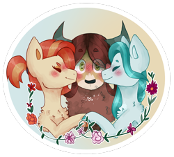 Size: 970x879 | Tagged: safe, artist:nesquake, character:lighthoof, character:shimmy shake, character:yona, species:earth pony, species:pony, species:yak, ship:yonahoof, ship:yonahoofshake, ship:yonashake, :o, back fluff, blushing, chest fluff, cute, eye clipping through hair, eyes closed, female, flower, fluffy, heart eyes, holding hooves, horns, interspecies, kiss on the cheek, kiss sandwich, kissing, lesbian, mare, monkey swings, open mouth, polyamory, ponytail, shipping, simple background, smiling, transparent background, wingding eyes, yonadorable