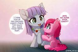 Size: 1280x854 | Tagged: safe, artist:symbianl, character:maud pie, character:pinkie pie, species:earth pony, species:pony, g4, chibi, cute, dialogue, diapinkes, filly maud pie, filly pinkie pie, speech bubble