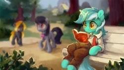 Size: 1280x720 | Tagged: safe, artist:jewellier, character:lyra heartstrings, character:octavia melody, oc, species:earth pony, species:pony, species:unicorn, bench, blurred background, book, clothing, pants, shirt, tree