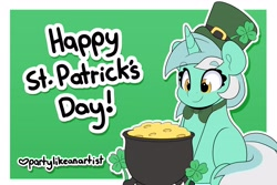 Size: 3544x2362 | Tagged: safe, artist:partylikeanartist, character:lucky clover, character:lyra heartstrings, species:pony, species:unicorn, g4, bowtie, cauldron, clover, eye clipping through hair, eyebrows, eyebrows visible through hair, four leaf clover, holiday, leprechaun, leprechaun hat, pot of gold, saint patrick's day, simple background, sitting, solo, st patricks, text