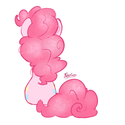 Size: 2000x2000 | Tagged: speculation, safe, artist:fluffyxai, character:pinkie pie, species:earth pony, species:pony, g4, spoiler:g5, back, sitting, sparkly mane
