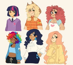 Size: 1797x1596 | Tagged: safe, artist:pandemia_michi, character:applejack, character:fluttershy, character:pinkie pie, character:rainbow dash, character:rarity, character:twilight sparkle, species:human, blep, bust, clothing, humanized, mane six, tongue out