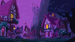 Size: 5120x2880 | Tagged: source needed, safe, background, canterlot, clear with periodic sky, high res, house, mountain, night, no pony, ponyville, scenery, wallpaper