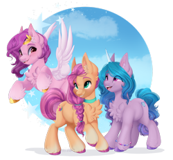 Size: 1920x1777 | Tagged: safe, artist:silent-shadow-wolf, character:izzy moonbow, character:pipp petals, character:sunny starscout, species:earth pony, species:pegasus, species:pony, species:unicorn, g5, braid, chest fluff, circlet, coat markings, curved horn, cute, cutie mark, diapipptes, ear fluff, feathered wings, flying, gradient mane, happy, horn, horn pattern, open mouth, pipp wings, signature, smiling, socks (coat marking), sunnybetes, trio, unshorn fetlocks, white wings