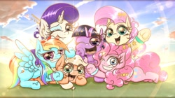 Size: 1050x590 | Tagged: safe, artist:phoenixrk49, character:applejack, character:fluttershy, character:pinkie pie, character:rainbow dash, character:rarity, character:twilight sparkle, species:earth pony, species:pegasus, species:pony, species:unicorn, g4, chibi, cute, dashabetes, diapinkes, group, holiday, jackabetes, mane six, new year, raribetes, shyabetes, sky, twiabetes
