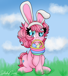 Size: 900x1000 | Tagged: safe, artist:splashofsweet, character:pinkie pie, species:earth pony, species:pony, g4, basket, bunny ears, cute, cutie mark, diapinkes, easter, easter bunny, easter egg, holding, holiday, mouth hold, raised hoof, sitting, solo