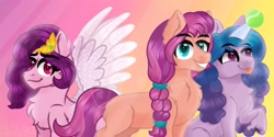 Size: 3000x1500 | Tagged: safe, artist:artisticcupcakezz, character:izzy moonbow, character:pipp petals, character:sunny starscout, species:earth pony, species:pegasus, species:pony, species:unicorn, g5, blep, braid, bust, chest fluff, childproof horn, circlet, ear fluff, gradient mane, pipp wings, spread wings, tennis ball, tongue out, wings