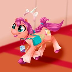 Size: 1280x1281 | Tagged: safe, artist:miguelpadillaarts, character:sunny starscout, species:earth pony, species:pony, g5, bag, braid, coat markings, convention, cutie mark, galloping, pony ears, socks (coat marking), solo, unshorn fetlocks