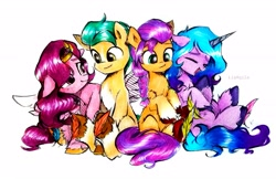 Size: 3481x2249 | Tagged: safe, artist:liaaqila, character:hitch trailblazer, character:izzy moonbow, character:pipp petals, character:sunny starscout, species:earth pony, species:pegasus, species:pony, species:unicorn, g5, bandolier, blaze (coat marking), chest fluff, circlet, coat markings, cute, diapipptes, floppy ears, gradient mane, izzybetes, pipp wings, sitting, socks (coat marking), sunnybetes, unshorn fetlocks