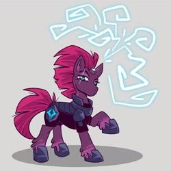 Size: 2700x2700 | Tagged: safe, artist:tiafu_, character:tempest shadow, species:pony, species:unicorn, armor, broken horn, eye scar, lightning, magic