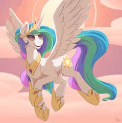 Size: 2485x2500 | Tagged: safe, artist:ailoy4, character:princess celestia, species:alicorn, species:pony, cloud, flying, regalia, sun, sunglasses, sunset