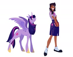 Size: 1795x1393 | Tagged: safe, artist:vivianaruyz, character:twilight sparkle, species:alicorn, species:human, species:pony, book, clothing, cutie mark on clothes, humanized, skirt, smiling