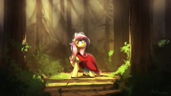 Size: 2560x1440 | Tagged: safe, artist:anticular, character:fluttershy, species:pegasus, species:pony, amazing background, cloak, forest, red riding hood, sun ray, tree