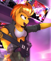 Size: 3466x4096 | Tagged: safe, artist:felixf2401, character:apple bloom, character:scootaloo, character:spitfire, character:sweetie belle, species:anthro, clothing, cutie mark crusaders, guitar, instrument, skull and crossbones