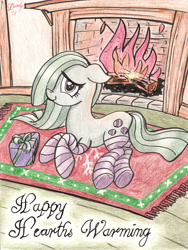 Size: 2480x3291 | Tagged: safe, artist:dandy, character:marble pie, species:earth pony, species:pony, g4, clothing, cutie mark, female, fire, fireplace, hair over one eye, hearth's warming, holiday, looking at you, mare, pencil drawing, present, shy, smiling, socks, solo, striped socks, traditional art