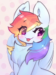 Size: 906x1200 | Tagged: safe, artist:haokan14, character:rainbow dash, species:pegasus, species:pony, g4, big ears, blep, chest fluff, cute, dashabetes, ear fluff, solo, tongue out