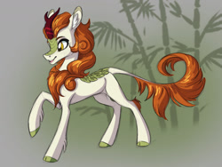 Size: 1280x960 | Tagged: safe, artist:faline-art, character:autumn blaze, species:kirin, g4, abstract background, ear fluff, leg fluff, open mouth, raised hoof, solo