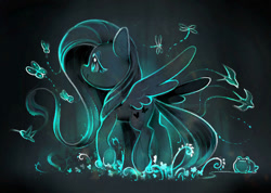 Size: 1024x731 | Tagged: safe, artist:dawnf1re, character:fluttershy, species:pegasus, species:pony, g4, abstract background, bird, butterfly, dragonfly, frog, limited palette, profile, solo, spread wings, wings