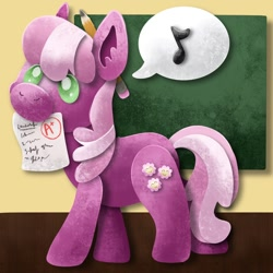 Size: 1200x1200 | Tagged: safe, artist:catscratchpaper, character:cheerilee, species:earth pony, species:pony, g4, chalkboard, grades, holding, mouth hold, music notes, paper, pencil