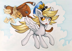 Size: 900x633 | Tagged: safe, artist:asim0s, character:derpy hooves, species:pegasus, species:pony, g4, clothing, dropping, flying, hat, letter, mailbag, mailmare, package