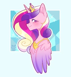 Size: 881x950 | Tagged: safe, artist:nullkunst, character:princess cadance, species:alicorn, species:pony, abstract background, bust, profile, solo