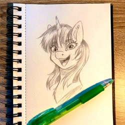 Size: 1200x1200 | Tagged: safe, artist:galinn-arts, character:twilight sparkle, species:pony, species:unicorn, bust, looking at you, monochrome, open mouth, pencil drawing, smiling, solo, traditional art