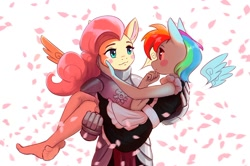 Size: 1200x799 | Tagged: safe, artist:mrscroup, character:fluttershy, character:rainbow dash, species:anthro, ship:flutterdash, g4, armor, blush, bridal carry, maid, petals, shipping