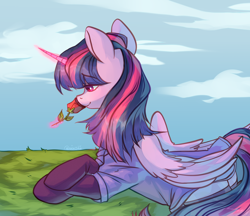 Size: 2532x2192 | Tagged: safe, artist:neonishe, character:twilight sparkle, character:twilight sparkle (alicorn), species:alicorn, species:pony, beautiful, clothing, female, flower, folded wings, glowing horn, horn, lying down, magic, mare, rose, smiling, socks, solo, stockings, telekinesis, thigh highs, wings