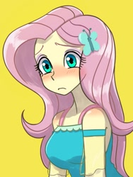 Size: 900x1200 | Tagged: safe, artist:haibaratomoe, character:fluttershy, species:eqg human, g4, blushing, bust, embarrassed, hairpin, solo