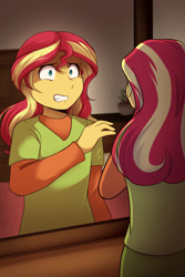 Size: 1800x2700 | Tagged: safe, artist:bundrawsart, character:sunset shimmer, fanfic:looking glass, series:who we become, g4, my little pony:equestria girls, mirror, reflection, younger