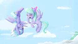 Size: 3840x2160 | Tagged: safe, artist:pucksterv, patreon reward, character:cloudchaser, character:flitter, species:pegasus, species:pony, g4, blushing, bow, canterlot, cloud, cute, cutechaser, cutie mark, duo, duo female, eyes closed, female, females only, flitterbetes, giggling, hair bow, mare, one eye closed, playing, siblings, signature, sisters, sky, twins, upside down