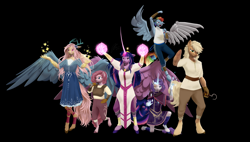 Size: 10600x6000   Tagged: safe, artist:imafutureguitarhero, character:applejack, character:fluttershy, character:pinkie pie, character:rainbow dash, character:rarity, character:twilight sparkle, character:twilight sparkle (alicorn), species:alicorn, species:anthro, species:draconequus, species:earth pony, species:pegasus, species:pony, species:unicorn, fanfic:my little pony: the unexpected future, g4, 3d, amputee, artificial wings, augmented, clothing, commission, draconequified, flutterequus, hook hand, horn, long horn, magic, mane six, mechanical wing, prosthetic limb, prosthetic wing, prosthetics, scar, size difference, source filmmaker, species swap, spread wings, wings