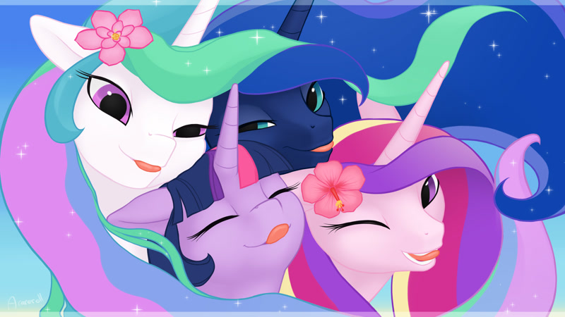 Size: 1920x1080 | Tagged: safe, artist:arareroll, character:princess cadance, character:princess celestia, character:princess luna, character:twilight sparkle, character:twilight sparkle (alicorn), species:alicorn, species:pony, g4, alicorn tetrarchy, blep, cute, ethereal mane, eyes closed, featured image, female, females only, flower, flower in hair, horn, mare, one eye closed, sillestia, tongue out