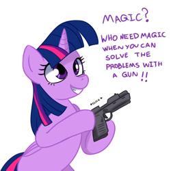 Size: 1024x1024 | Tagged: safe, artist:ichduhernz, character:twilight sparkle, species:pony, bipedal, dialogue, female, grammar error, gun, handgun, hoof hold, mare, meme, oh god, pistol, smiling, solo, text, weapon