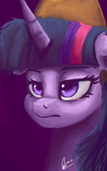 Size: 1280x2048 | Tagged: safe, artist:raphaeldavid, character:twilight sparkle, species:alicorn, species:pony, bust, purple background, signature, simple background, solo, three quarter view, tired